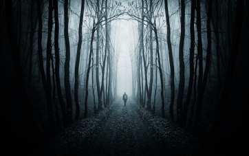 Man walking on a path in a dark forest with fog